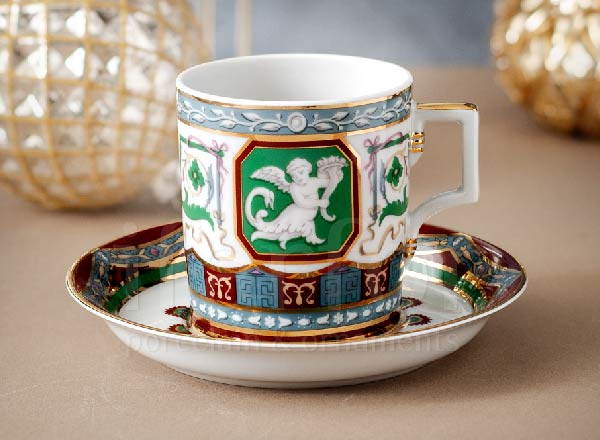 Cup and saucer tea Antique Armorial