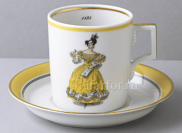 Cup and saucer in a gift box Modes de Paris 1835 Armorial