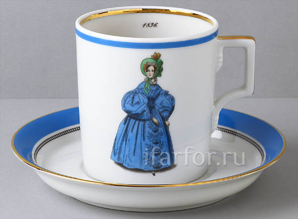 Cup and saucer in a gift box Modes de Paris1836 Armorial