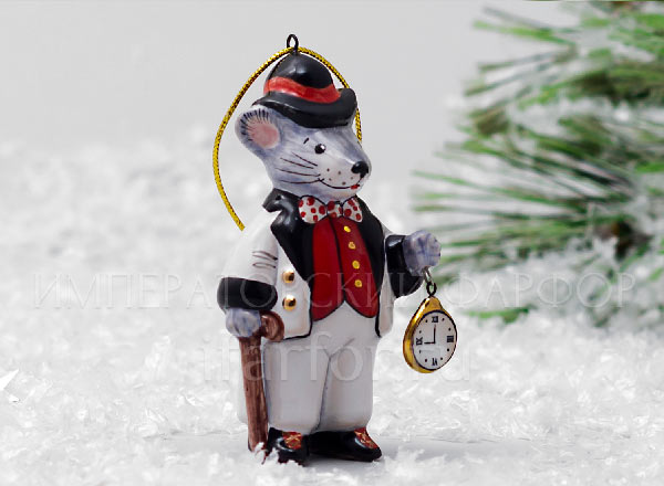 Christmas tree toy Mouse with clock